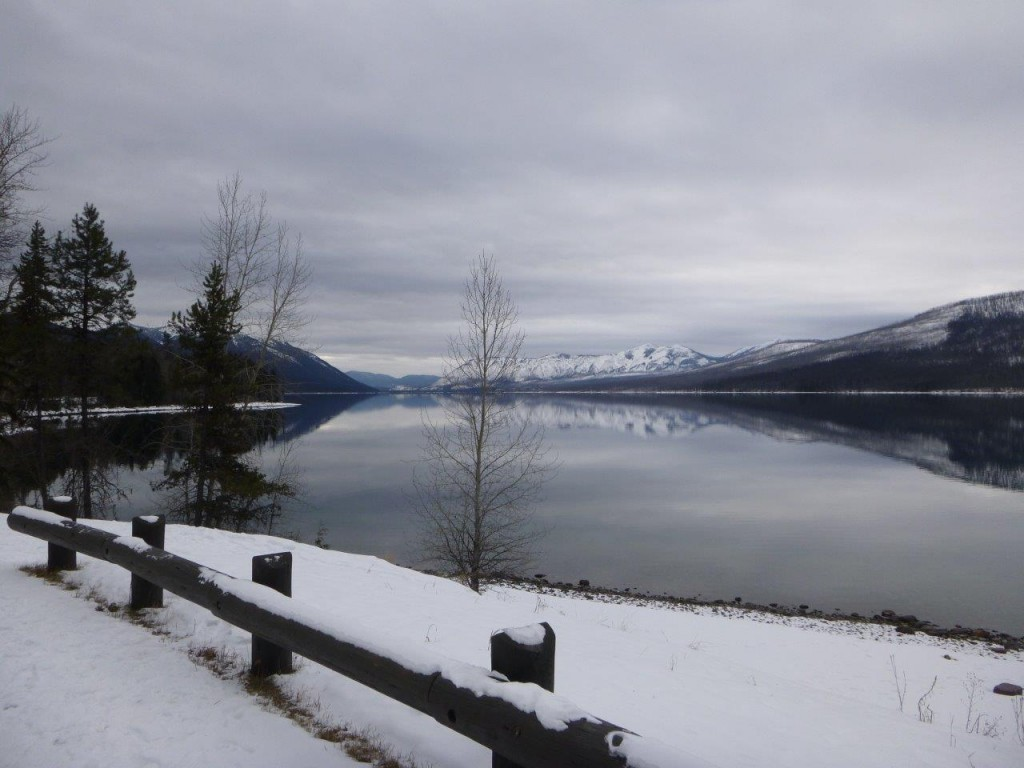 A view of Glacier National Pack in the winter