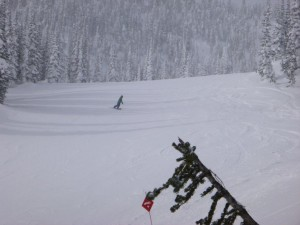 Typical busy day on Moementum at Whitefish Mountain Resort