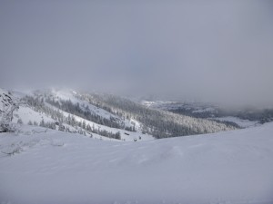 From the top of Sentinel bowl looking towards the Palisades at Kirkwood on a March powder day.