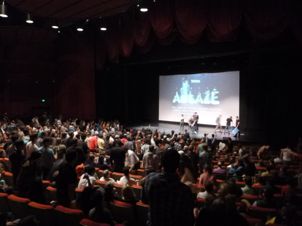 Product toss at Almost Ablaze premier at Palace of Fine Arts