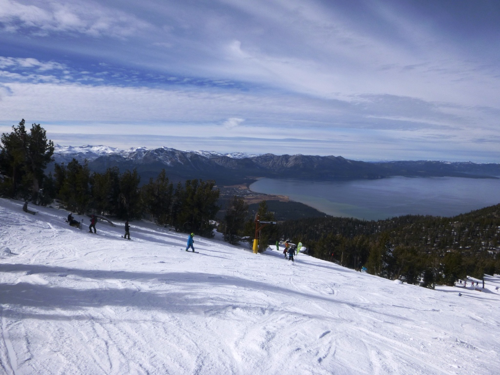 View of Lake Tahoe from the top of the California trail on opening day.