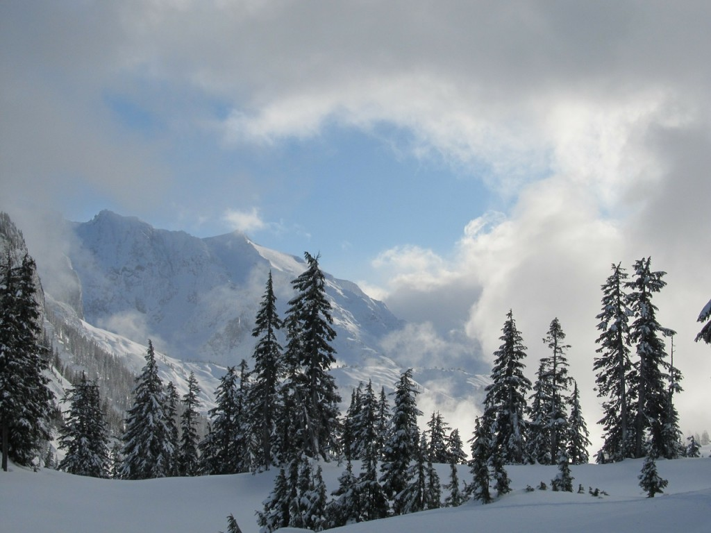 Mt Baker snowboarding backcountry scenery winter