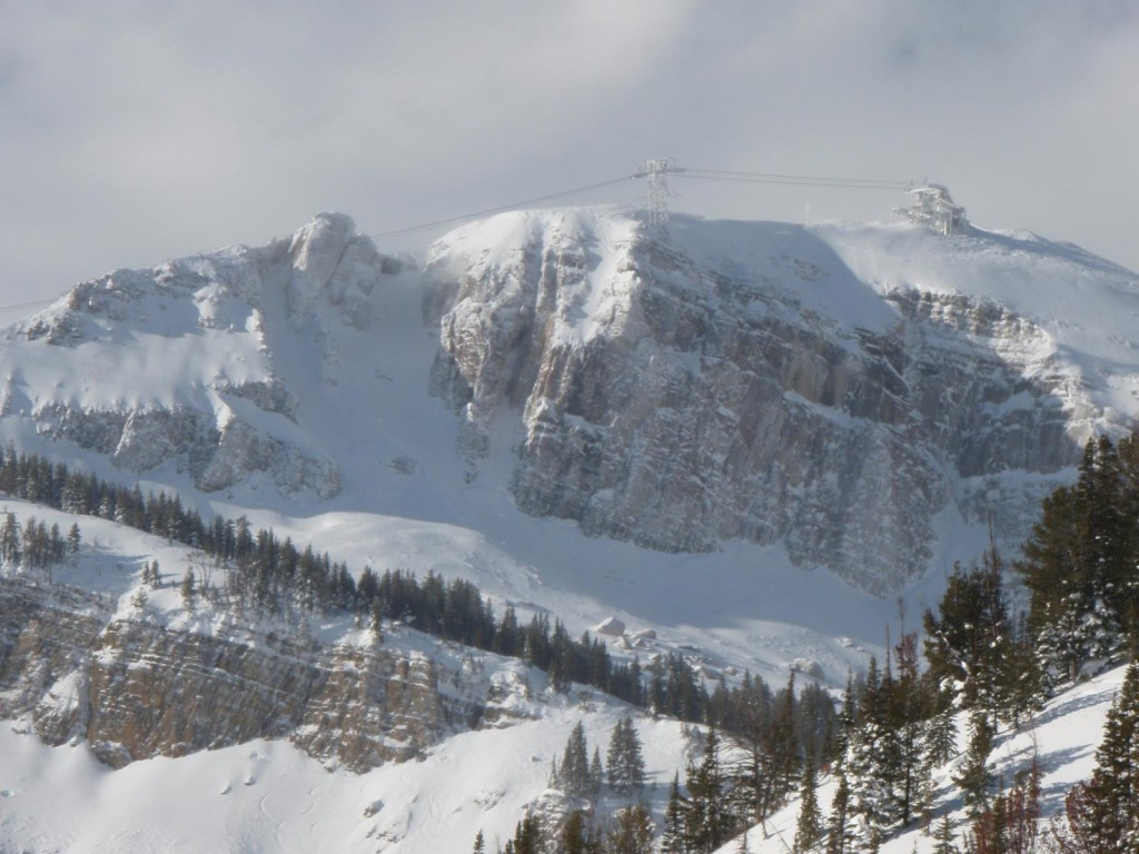 Overlooking the summit of the Jackson Hole tram during a winter storm