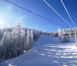 Heavenly on a beautiful morning... First Chair but no fresh snow...