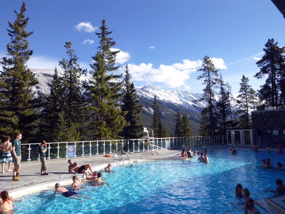 The Banff Hot Springs overlooking the Canadian Rockies