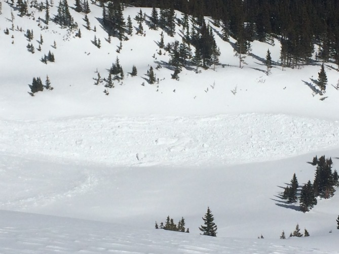 The runout may not be a true avalanche slope angle the chunky blocks of debris showcase how far the runout could be