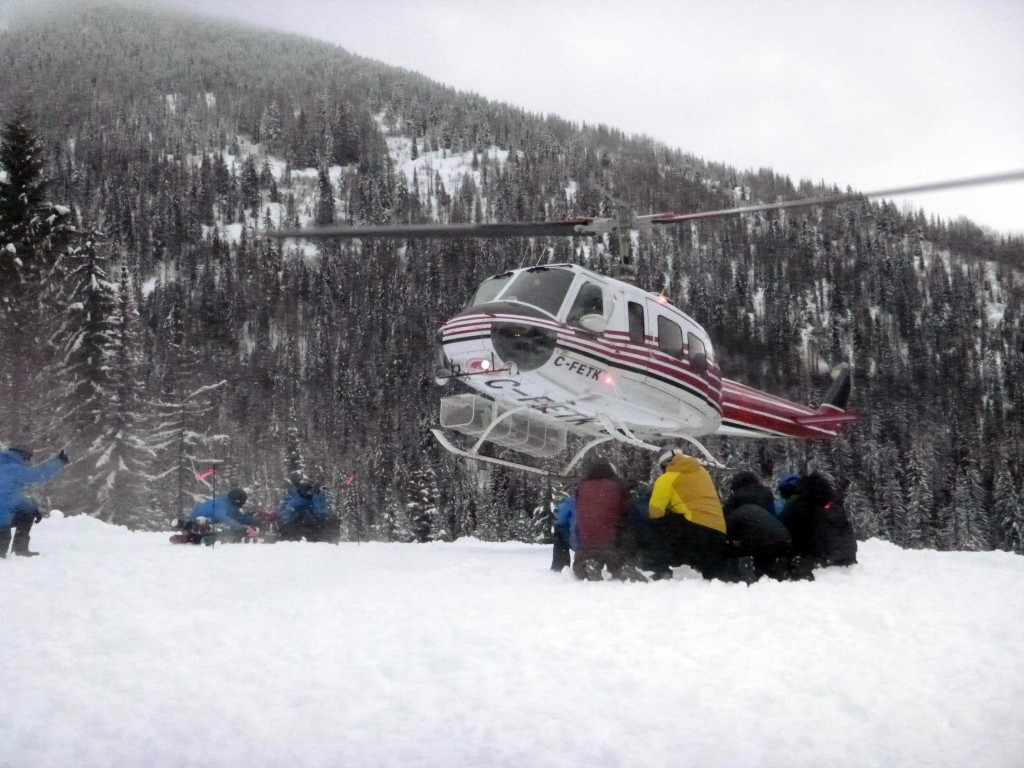Helicopter landing at Baldface Lodge