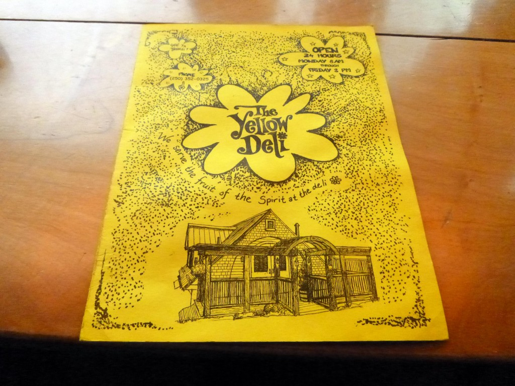 The cover of the Yellow Deli Menu