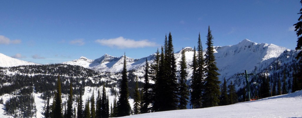 View of the Selkirks from the top of Whitewater Ski Resort