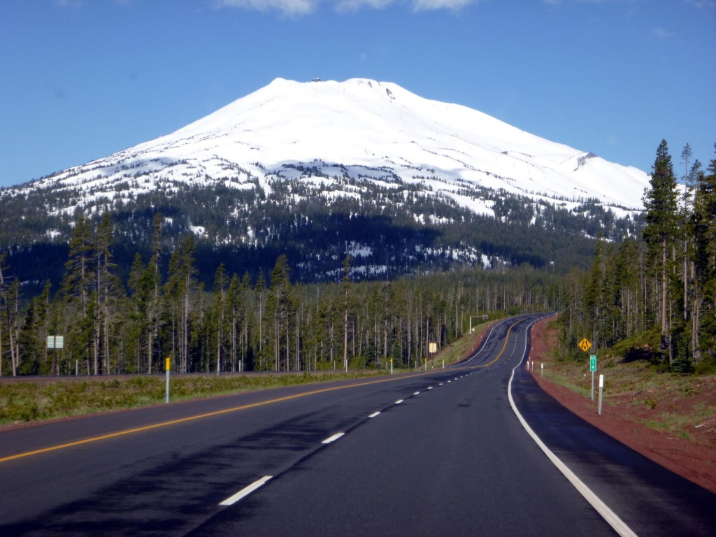 The road to Mt Bachelor is beautiful any time of year but in spring the contrasts of green and white are breathtaking. Winter clinging to life on top of Mt Bachelor.