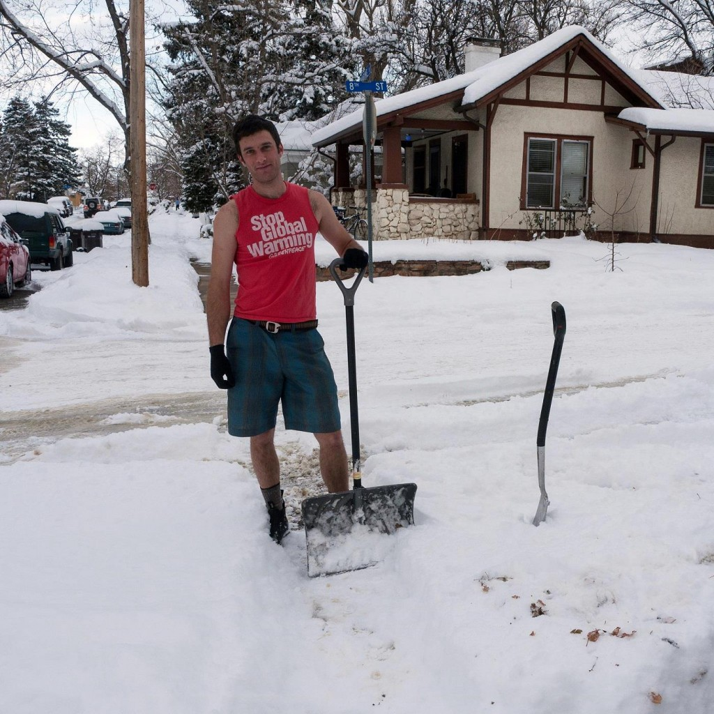 Image taken by: Zane Selvans Any shovel will do when building a kicker.  A good example of a shovel you could use.
