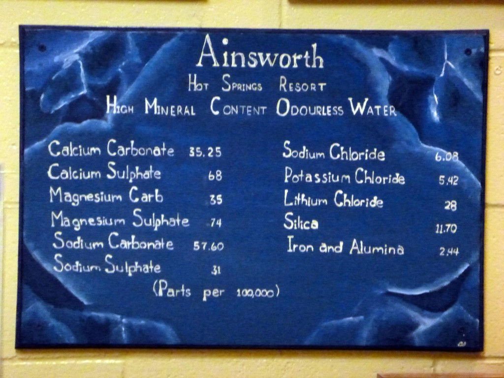 Ainsworth Hot Springs Mineral Content Sign