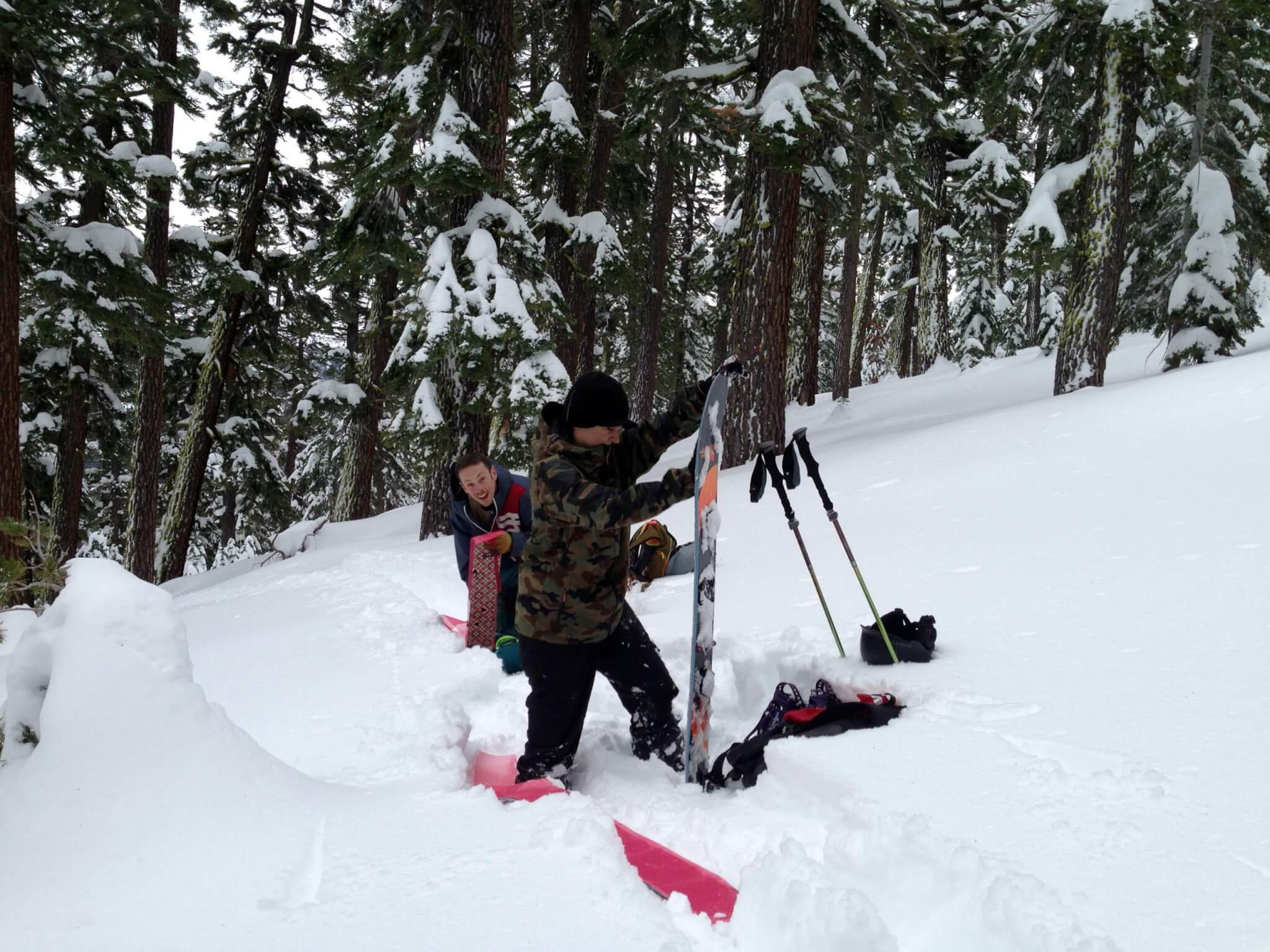 splitboarding 101 girl and guy intro to splitboarding in Lake Tahoe