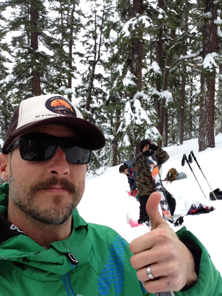 Shane Ricketts thumbs up lake tahoe backcountry local freshies hat