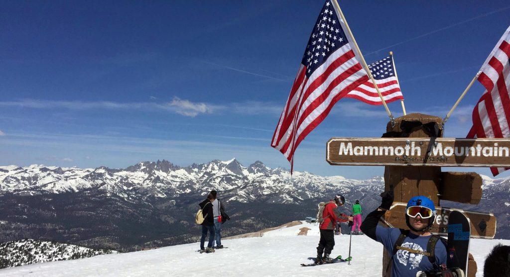 Mammoth Mountain Shane Summer Snowboarding American Flags Summit