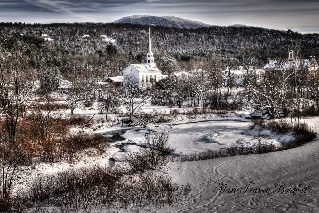Stowe one of the most authentic winter towns in America covered in white