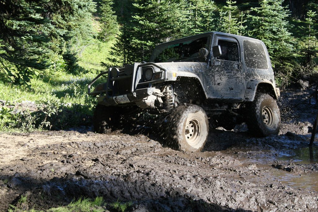 Off Road Adventures in ski town Whipsaw Trail Princeton BC muddy Jeep