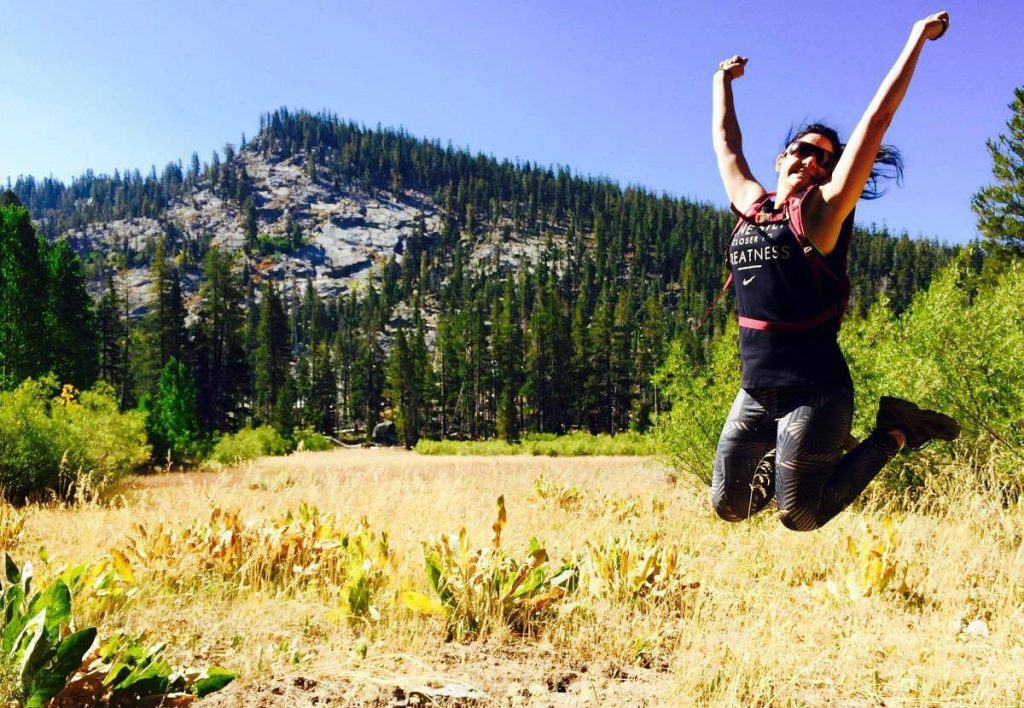 Jumping for joy at how fun trail running is