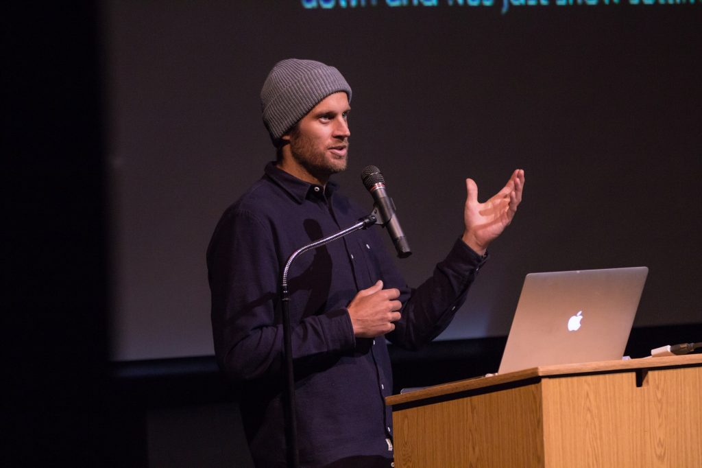 Cody Townsend at the California Avalanche Workshop talking about his concept