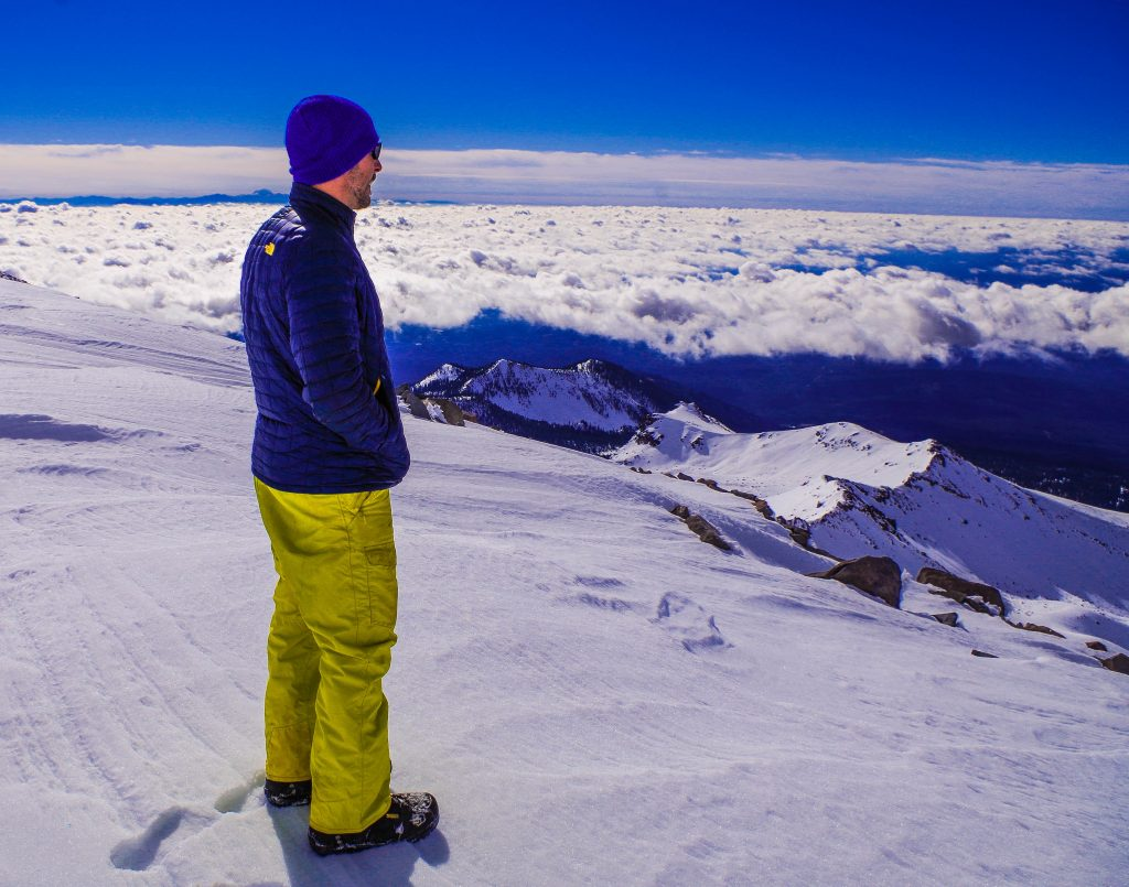 Shane Ricketts on Mt. Shasta looking over Northern California and Oregon Image taken by: Zack Holm