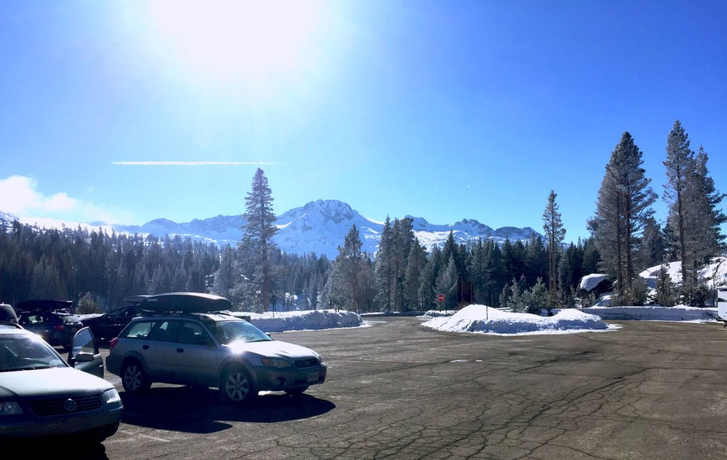 Meiss Trailhead parking lot Carson Pass Lake Tahoe Backcountry