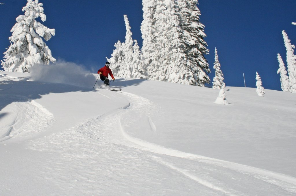 Skiing in Idaho powder day Brundage
