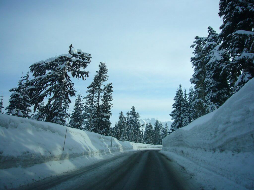 Most Dangerous Roads to Ski Resorts Mt Baker Highway deep snow winter