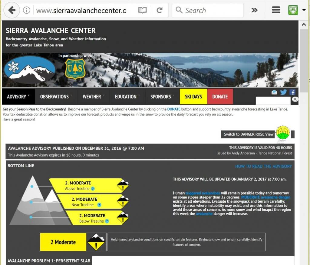 Sierra Avalanche Center New Years Eve Report