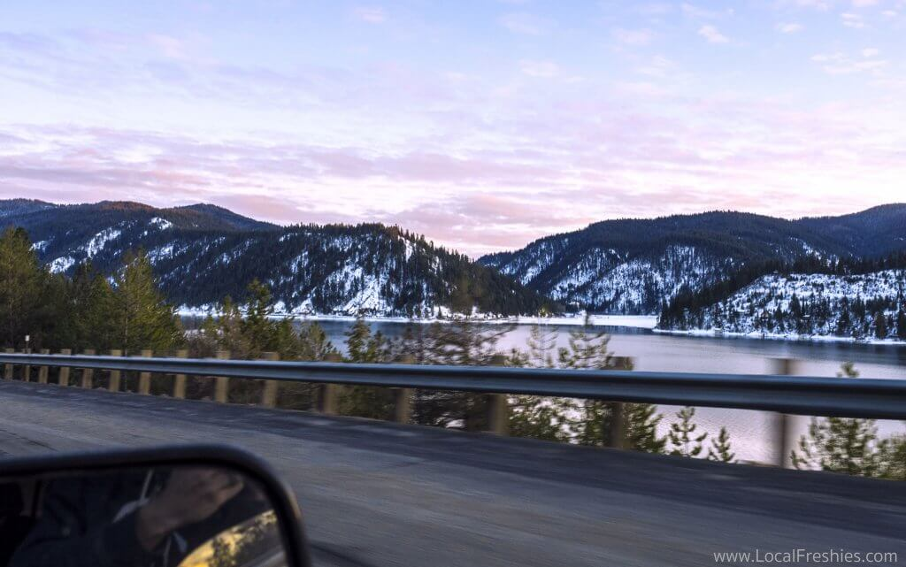 Wallace Idaho driving winter mountains
