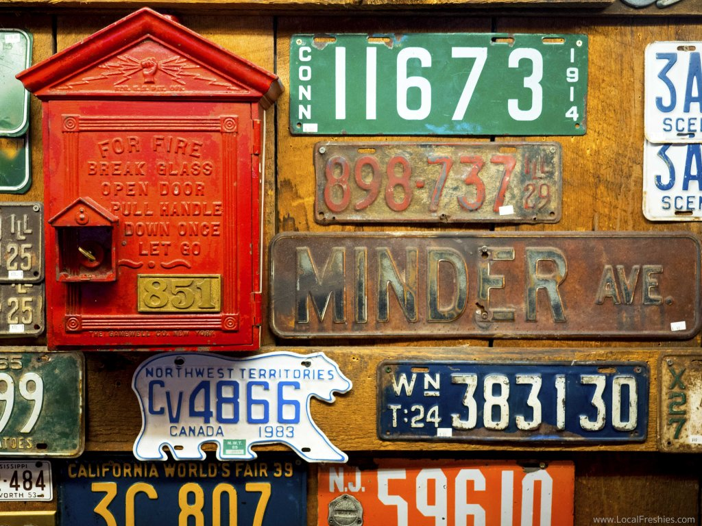 Red Light Garage old school license plates Wallace
