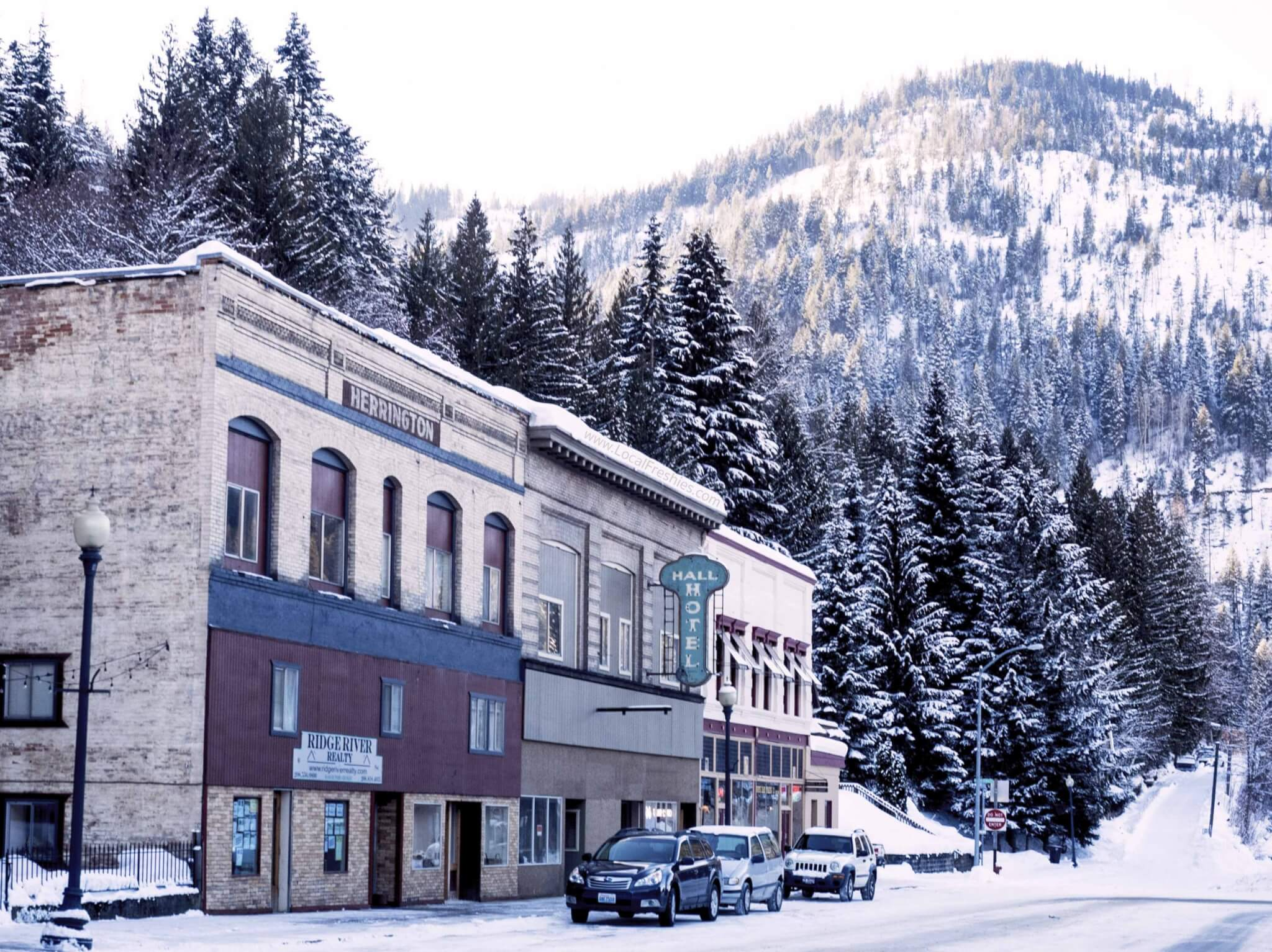 Main Street in Wallace Idaho in winter