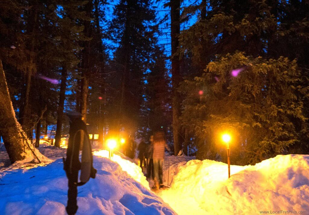 McCall Idaho Winter Blue Moon Yurt Exterior Snowshoeing