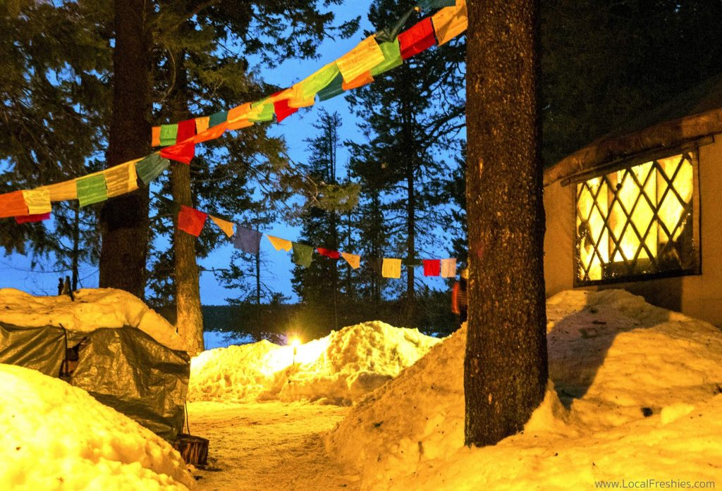 McCall Idaho Winter Blue Moon Yurt Exterior Nepalese Flags
