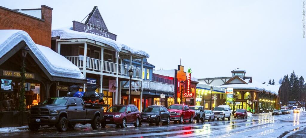 Downtown McCall Idaho Winter rainy day