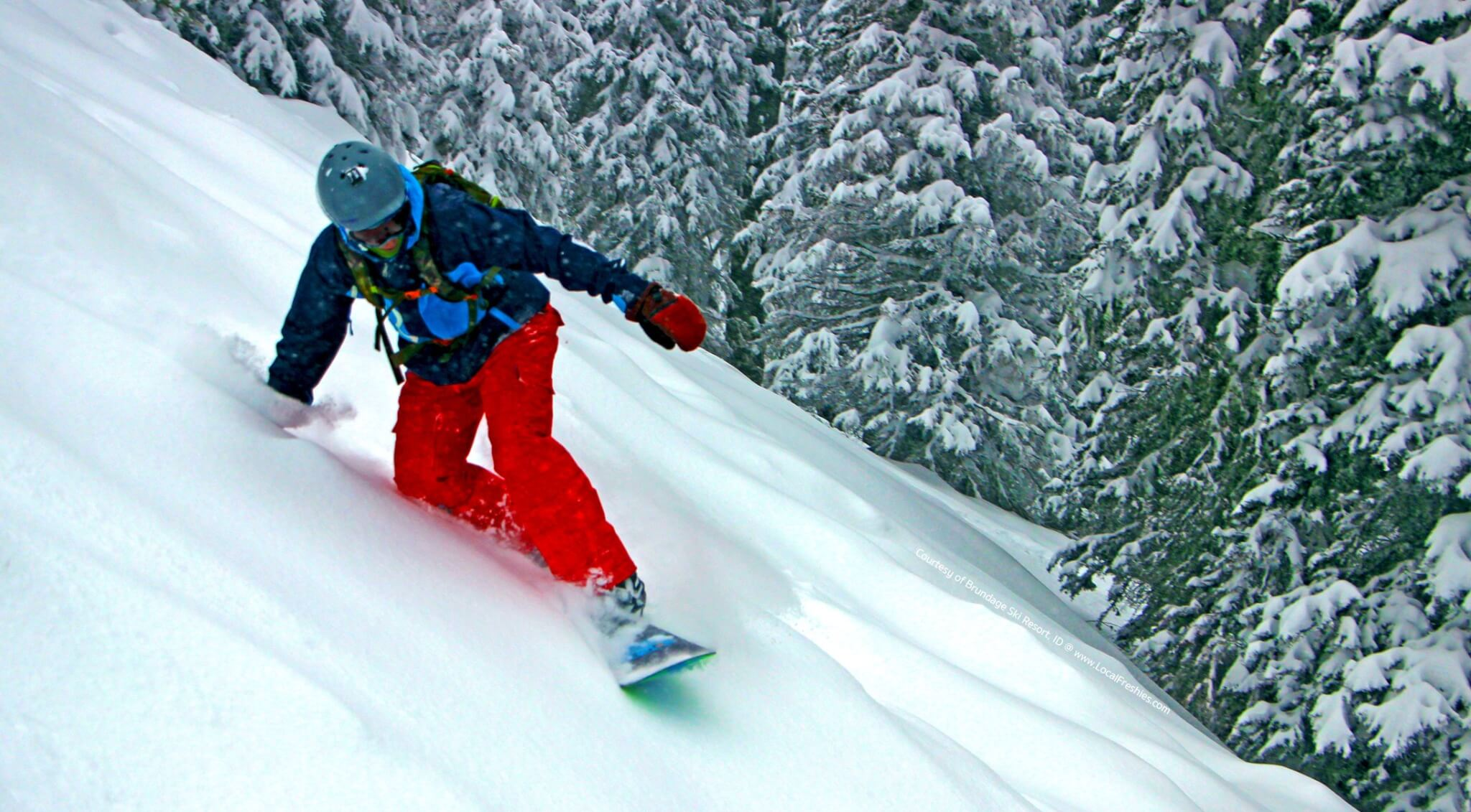 Snowboarder enjoys knee deep powder at the McCall Ski Resort of Brundage in the area