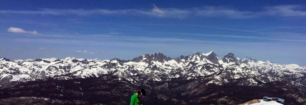 The Minarets Mountains from Mammoth Mountain during spring skiing