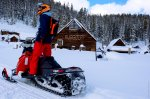 Snowmobiling into the wilderness for a Hot Springs getaway