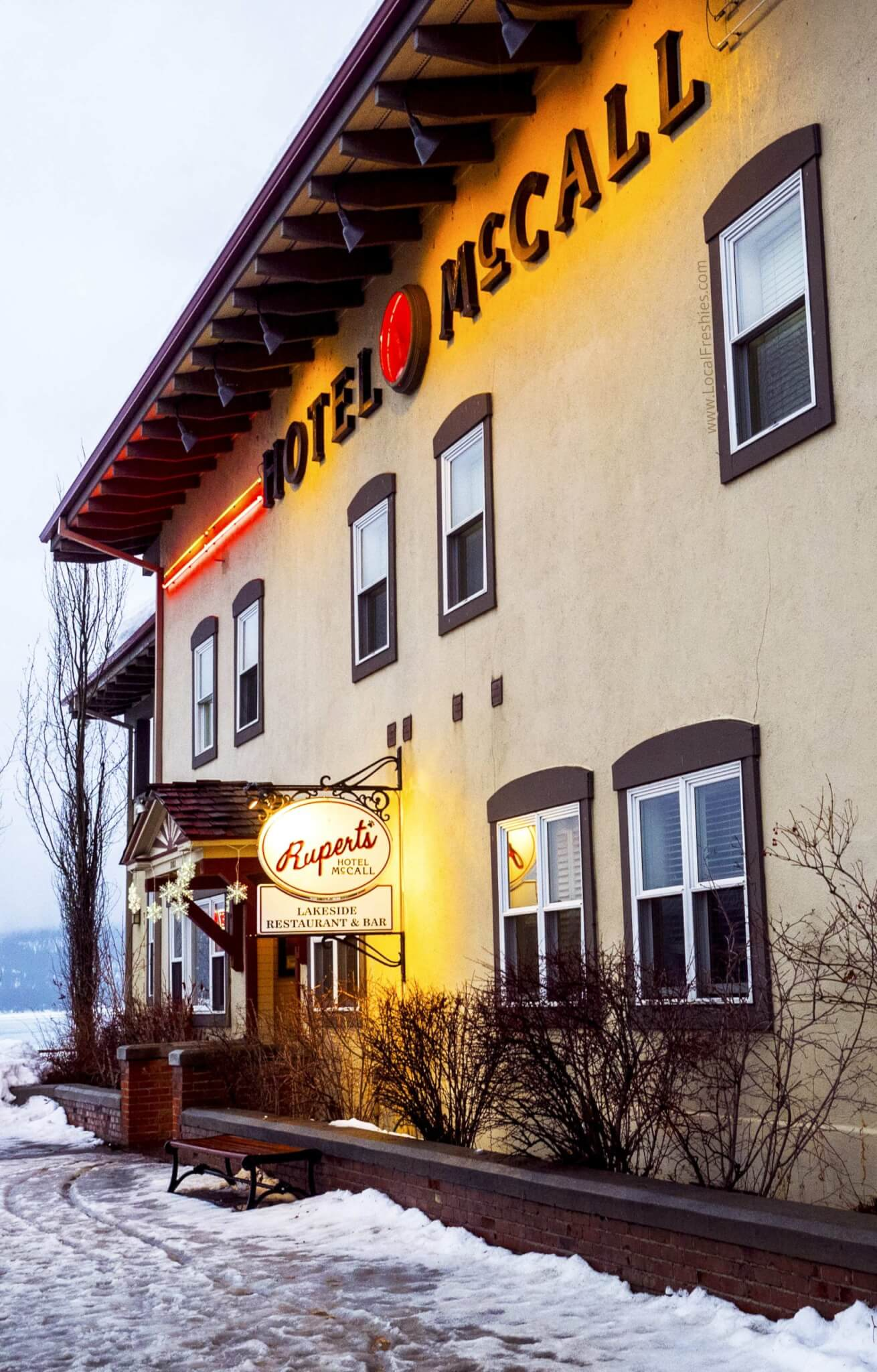 exterior of Hotel McCall in the winter