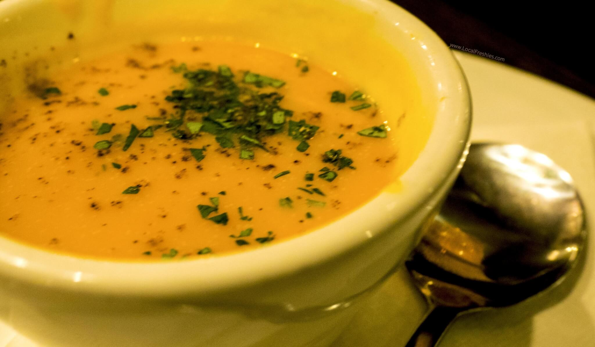 ginger squash soup at Ruperts in Hotel McCall Idaho
