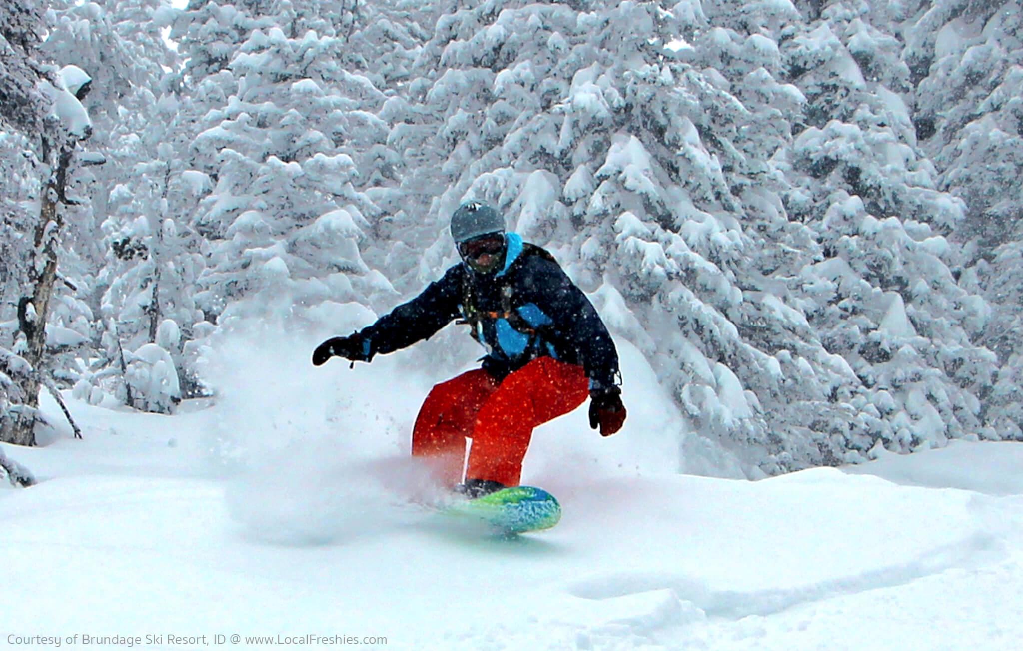 McCall Brundage Ski Resort Snowboarding Heelside Carve Powder