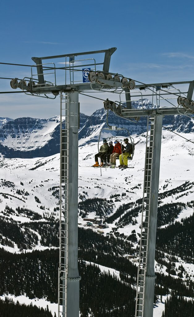 Sunshine Village Alberta Canada best spring skiing chairlift