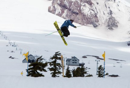 Mt Hood Timberline Oregon skier spinning best spring skiing