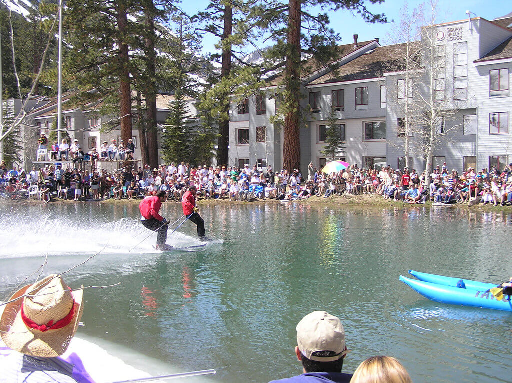 Squaw Valley Cushing Crossing Tahoe best pond skim spring skiing
