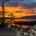 plus skateboards downhill skateboarding Lake Tahoe nature orange sunset scenic