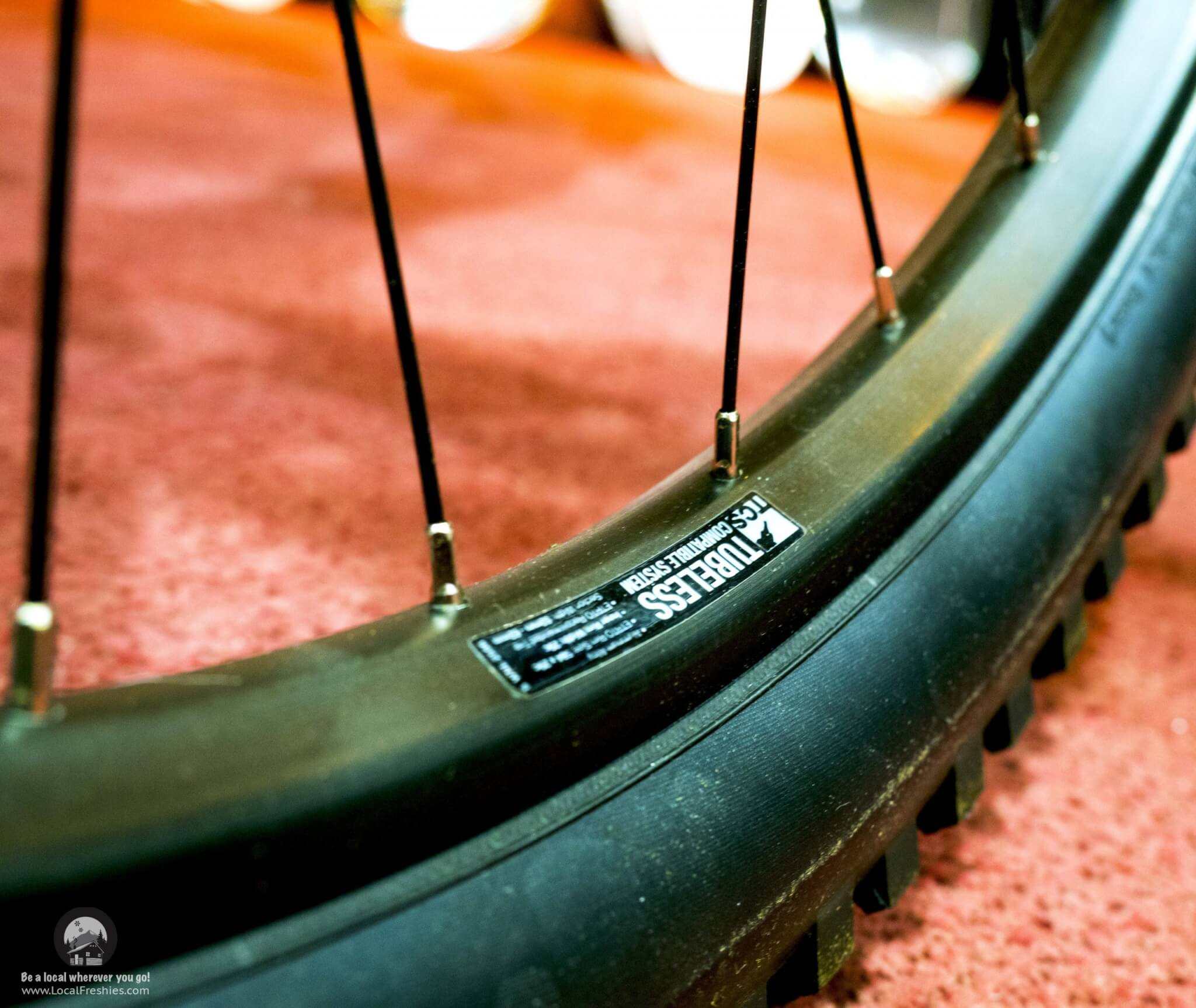 label on a rim of a tubeless mountain bike tires