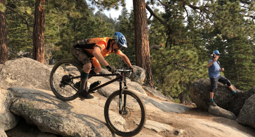 mountain biker on Armstrong Connector within Lake Tahoe Corral trail network