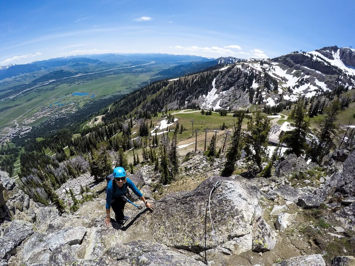 best via ferrata in North America Jackson Hole Wyoming Summer Adventure