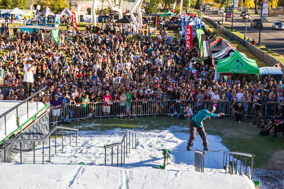 ski & snowboard festivals 2017 Snowboard on the Block Festival 2016 Snowboarding Backside boardslide crowd