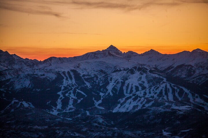 History of Snowmass Sunset Aerial shot