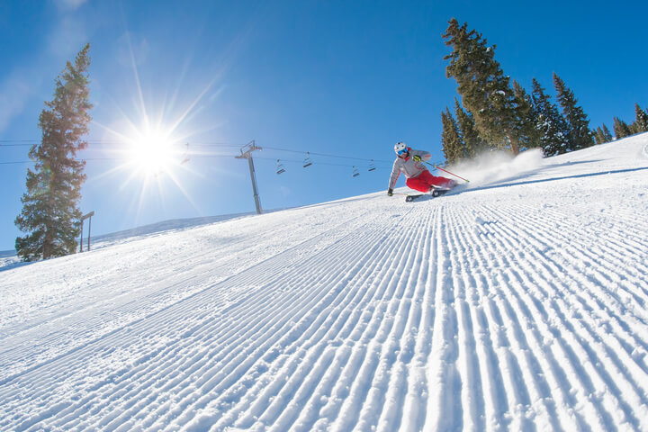 History of Snowmass Corduroy Skiing carving early morning